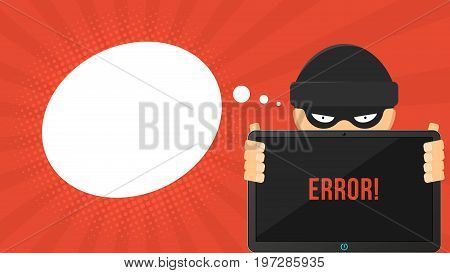 Cartoon hacker is holding a hacked high-tech electronic tablet in his hands. System error. Cartoon cyber crime. Empty cloud for text. Vector illustration in a flat style