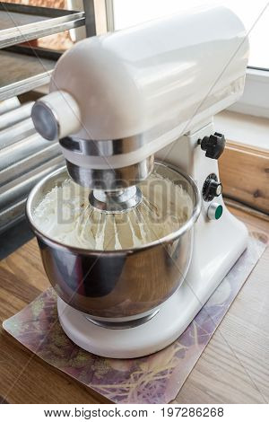 Food Processor To Kneading Dough For Cake. Manufacturing Process Of Sweet Cake In Mixer