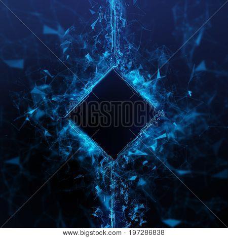 Rendering blue Energy Cube Hologram on black background. Energy stream Hologram