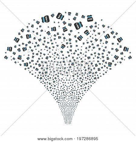 Source of toxic rubbish symbols. Vector illustration style is flat blue and gray iconic symbols on a white background. Object fountain organized from confetti icons.
