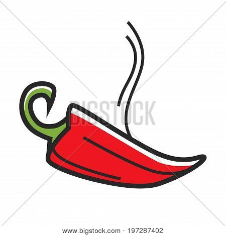 Red hot chili pepper with curled stem and steam isolated cartoon vector illustration on white background. Fresh fruit of bushy plant with burning taste that used as spice mostly in Mexican food.