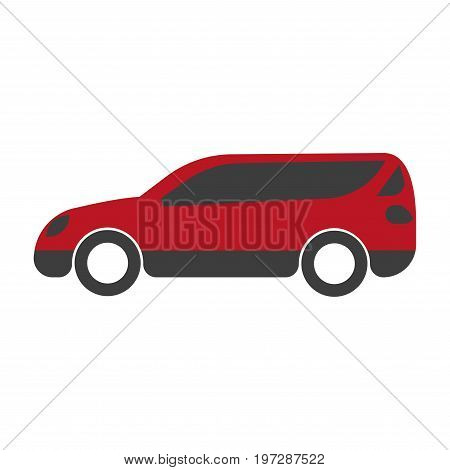 Spacious red family car with big trunk isolated minimalistic cartoon flat vector illustration on white background. Practical comfortable vehicle that can carry lot of people and heavy baggage.