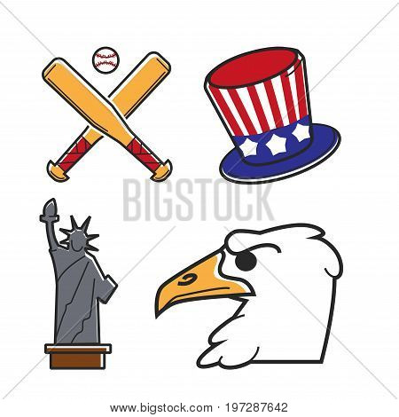 Most common symbols of United States of America isolated vector illustrations set. Wooden bates and white ball for baseball, hat with national flag pattern, statue of freedom and eagle profile.