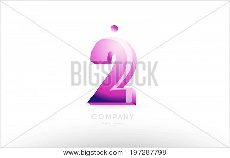 Number 2 Two Black White Pink Logo Icon Design