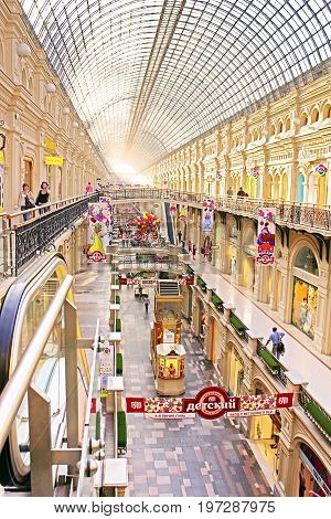 MOSCOW, RUSSIA - JUNE 05, 2013: Interior of the GUM (main department store). GUM is located on the Red Square and is one of the oldest supermarkets in Moscow, Russia