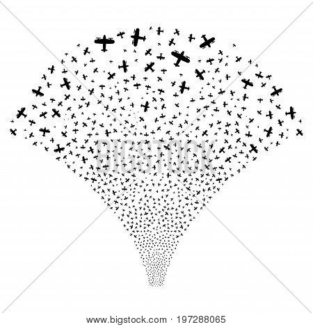 Source of aircraft icons. Vector illustration style is flat black iconic symbols on a white background. Object source done from confetti pictograms.