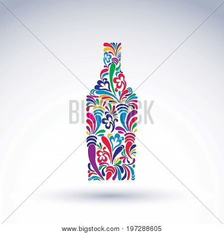 Bright flowery alcohol bottle. Stylized glassware symbol with abstract ethnic pattern. Graphic relaxation conceptual vector object can be used in decoration and design.