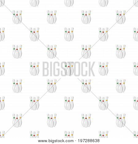 Three bowling pins pattern seamless repeat in cartoon style vector illustration