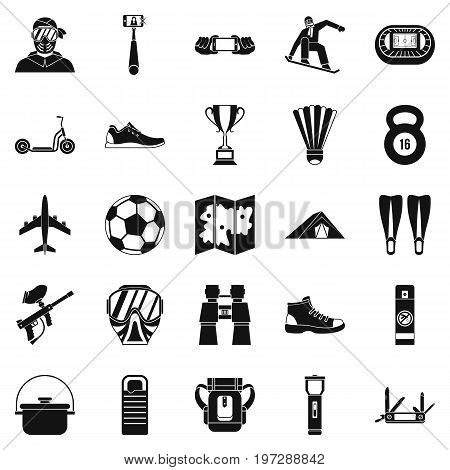 Camping in the woods icons set. Simple set of 25 camping in the woods icons for web isolated on white background