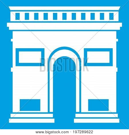 Triumphal arch icon white isolated on blue background vector illustration