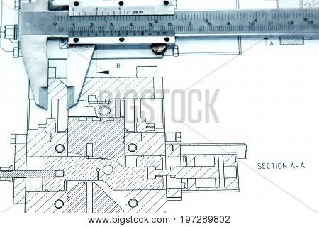 Engineering drawings with vernier caliper, concept and idea