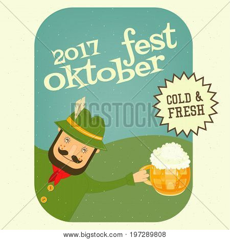 Oktoberfest Beer Festival - German Holds Beer Mug with Foam. Retro Poster. Vector Illustration.