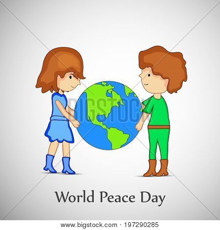 illustration of boy girl and earth with World Peace Day text on the occasion of International Peace Day