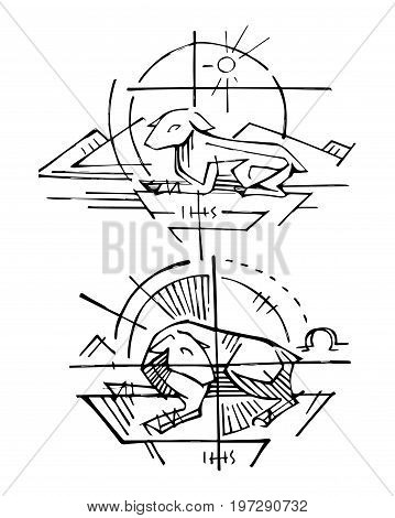Hand drawn vector illustration or drawing of Jesus Christ represented by the religious symbol of the Lamb of God