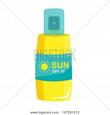 Sunblock in a bottle of spray.Cosmetics for sunbathing. Protection from sunlight. Sun tan and tanning. Vector