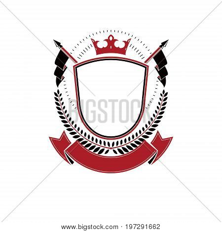 Graphic emblem composed using majestic crown and spears. Heraldic Coat of Arms decorative logo isolated vector illustration