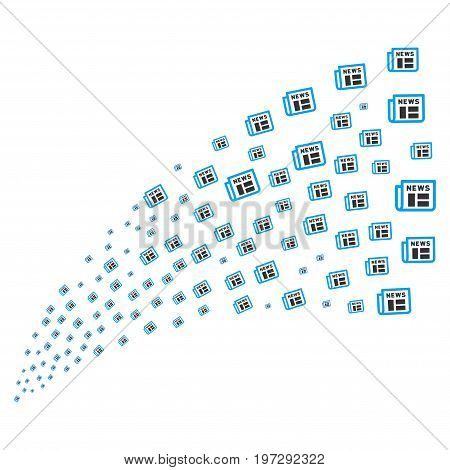 Fountain of newspaper symbols. Vector illustration style is flat blue and gray iconic newspaper symbols on a white background. Object fountain organized from symbols.