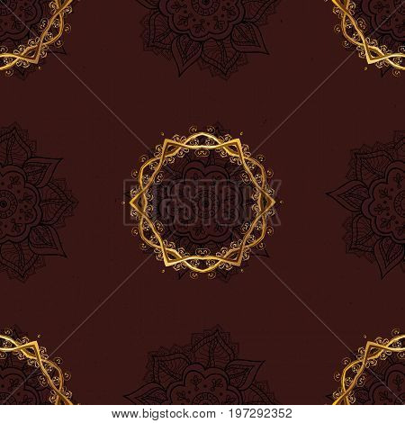 Traditional classic golden pattern. Seamless oriental ornament in the style of baroque. Golden pattern on brown background with golden elements. Vector oriental ornament.
