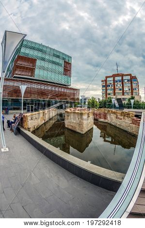 TIMISOARA ROMANIA - JULY 272017: Office buildings ensemble including the foundation of the old sluice the oldest in the history of the city discovered in the excavations and now integrated in this