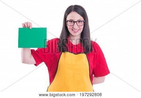 Supermarket Assistant With Blank Paper In Hands