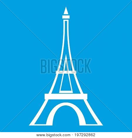 Eiffel tower icon white isolated on blue background vector illustration