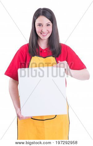 Young Pretty Seller Holding Big Box In Hands