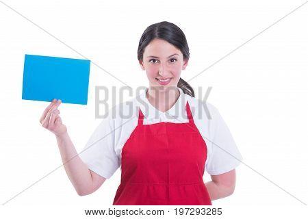 Beautiful Young Merchandiser Presenting Empty Green Paper