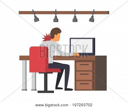 Neck pain, office syndrome. Incorrect sitting posture. Man sitting at desk suffering from backache. Vector illustration.