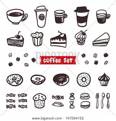 Coffee Attributes set. Outline Hand Drawn elements. Different cups of coffee Espresso, cappuccino, latte, ristretto, americano, raf, makiato, cheesecake, sweets, cupcakes, donuts and delicious cakes Coffee Sketch Background Vector illustration
