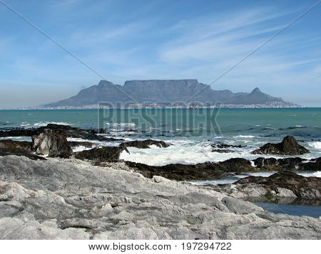 FROM CAPE TOWN, SOUTH AFRICA, VIEW OF TABLE MOUNTAIN FROM BLOUBERG STRAND