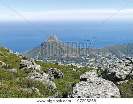 FROM CAPE TOWN, SOUTH AFRICA, VIEW FROM THE TOP OF TABLE MOUNTAIN, LOOKING TOWARDS LIONS HEAD AND SIGNAL HILL