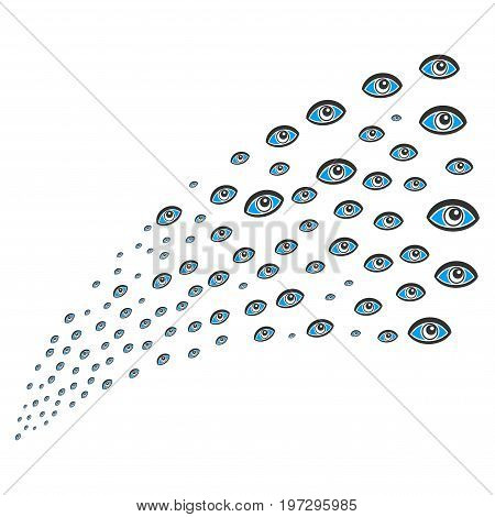 Source of vision symbols. Vector illustration style is flat blue and gray iconic vision symbols on a white background. Object fountain combined from design elements.