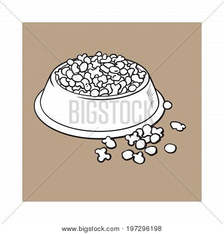 Blue shiny plastic bowl filled with dry pelleted food for pet, cat, dog, black and white sketch style vector illustration isolated on brown background. Hand drawn bowl, plate filled with dry pet, dog