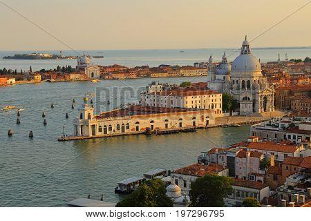 Basilica di Santa Maria della Salute on the giudecca Canal in Venice in Italy