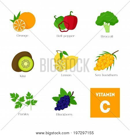 Cartoon Food with Vitamin C Infographics Concept Healthy Nutrition or Diet Flat Design Style. Vector illustration