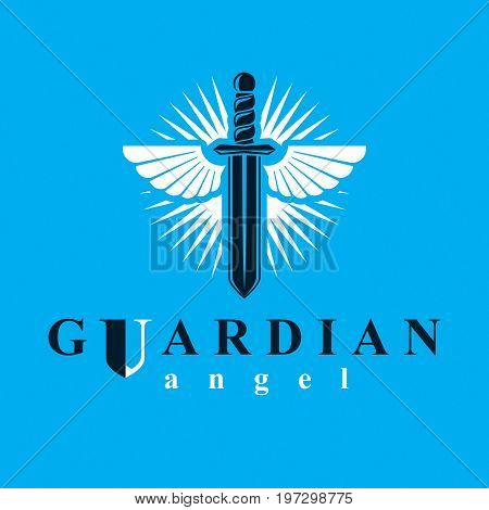 Vector graphic illustration of sword composed with bird wings war and freedom metaphor symbol. Guardian angel vector abstract emblem.