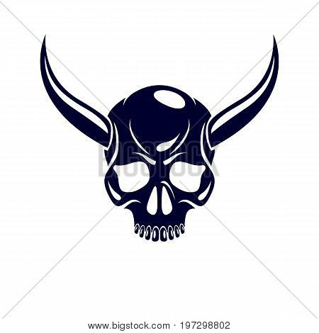 Vector scary scull graphic illustration. Demonic infernal creature horned wicked Baphomet vector symbol.