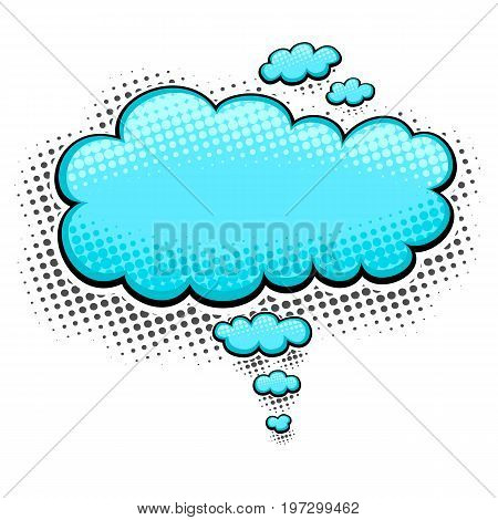 Speech bubble or cloud in pop art cartoon comic retro style with halftone in  light blue on white background for different inscription or banners