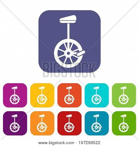 Unicycle icons set vector illustration in flat style in colors red, blue, green, and other