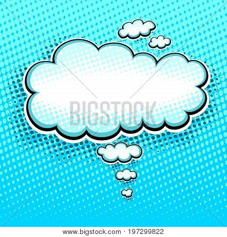 Speech bubble or cloud in pop art cartoon comic retro style with halftone in  white on light blue background for different inscription or banners