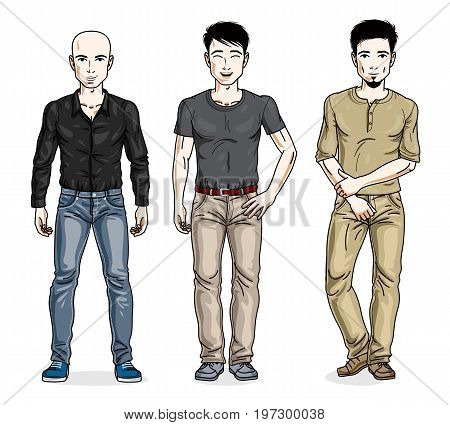 Handsome men posing in stylish casual clothes. Vector diverse people illustrations set. Lifestyle theme male characters.