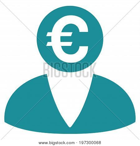 Euro Banker vector icon. Flat soft blue symbol. Pictogram is isolated on a white background. Designed for web and software interfaces.