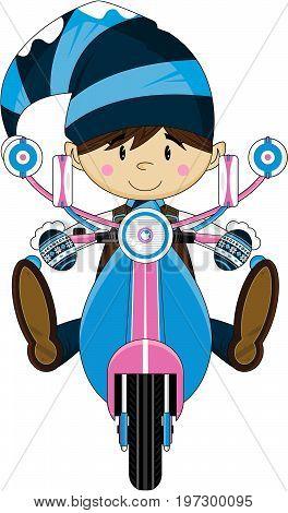 Cute Cartoon Elf Riding a Retro Scooter