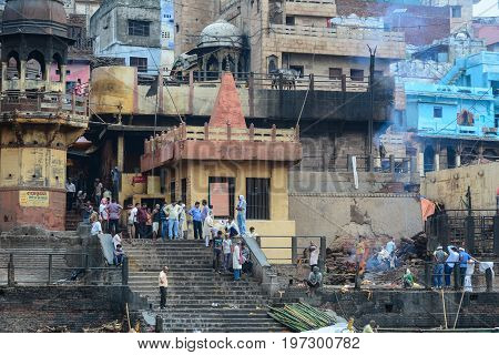 Burning Ghat On Riverbank In Varanasi, India
