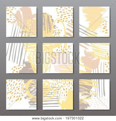 Set of 6 ink brush pattern, modern grunge brush design templates, invitation, banner, art vector cards design