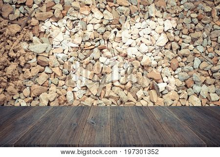 Stone Wall Texture , Process In Vintage Style With Wood Terrace With World Map