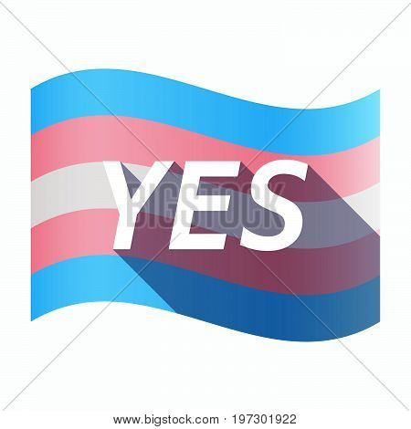 Isolated Transgender Flag With    The Text Yes