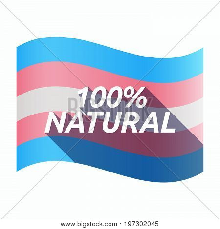 Isolated Transgender Flag With    The Text 100% Natural