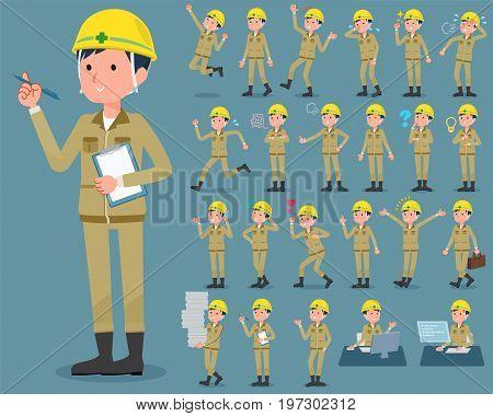 Flat Type Helmet Construction Worker Man_1