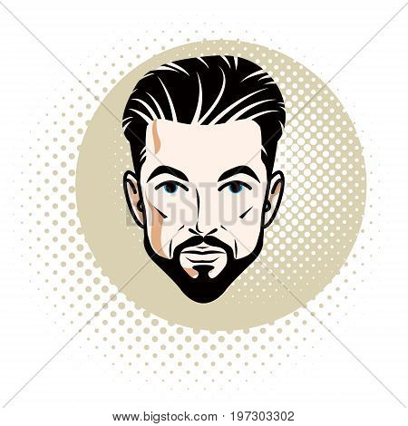 Vector illustration of handsome brunet male face with mustache and beard positive face features clipart.